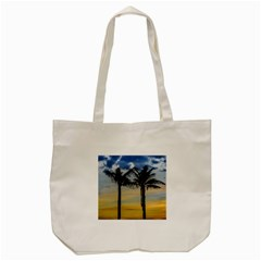 Palm Trees Against Sunset Sky Tote Bag (Cream)