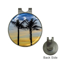 Palm Trees Against Sunset Sky Hat Clips with Golf Markers