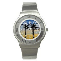Palm Trees Against Sunset Sky Stainless Steel Watch