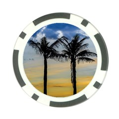 Palm Trees Against Sunset Sky Poker Chip Card Guard