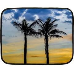 Palm Trees Against Sunset Sky Fleece Blanket (Mini)