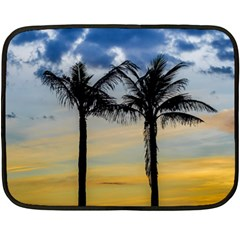 Palm Trees Against Sunset Sky Double Sided Fleece Blanket (Mini)