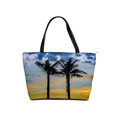 Palm Trees Against Sunset Sky Shoulder Handbags