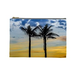 Palm Trees Against Sunset Sky Cosmetic Bag (Large)