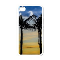 Palm Trees Against Sunset Sky Apple iPhone 4 Case (White)