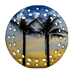 Palm Trees Against Sunset Sky Round Filigree Ornament (Two Sides)