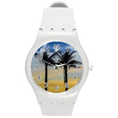 Palm Trees Against Sunset Sky Round Plastic Sport Watch (M)