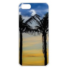 Palm Trees Against Sunset Sky Apple iPhone 5 Seamless Case (White)