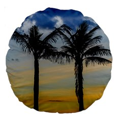 Palm Trees Against Sunset Sky Large 18  Premium Round Cushions