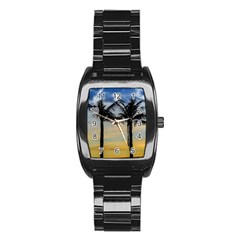 Palm Trees Against Sunset Sky Stainless Steel Barrel Watch