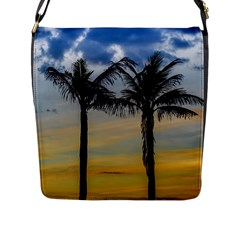 Palm Trees Against Sunset Sky Flap Messenger Bag (L)