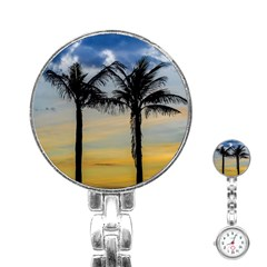 Palm Trees Against Sunset Sky Stainless Steel Nurses Watch