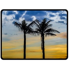 Palm Trees Against Sunset Sky Double Sided Fleece Blanket (Large)