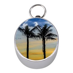 Palm Trees Against Sunset Sky Mini Silver Compasses