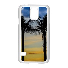 Palm Trees Against Sunset Sky Samsung Galaxy S5 Case (White)