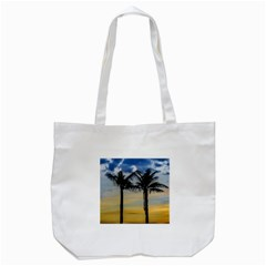 Palm Trees Against Sunset Sky Tote Bag (White)