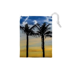 Palm Trees Against Sunset Sky Drawstring Pouches (Small)