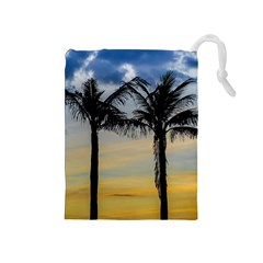 Palm Trees Against Sunset Sky Drawstring Pouches (Medium)