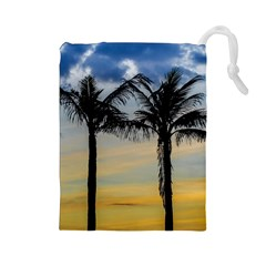 Palm Trees Against Sunset Sky Drawstring Pouches (Large)