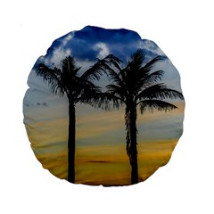 Palm Trees Against Sunset Sky Standard 15  Premium Flano Round Cushions