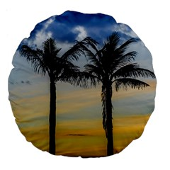 Palm Trees Against Sunset Sky Large 18  Premium Flano Round Cushions