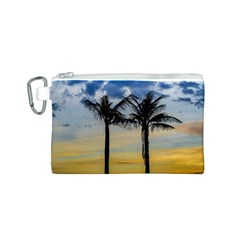 Palm Trees Against Sunset Sky Canvas Cosmetic Bag (S)