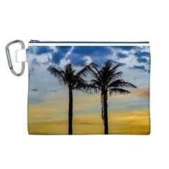 Palm Trees Against Sunset Sky Canvas Cosmetic Bag (L)