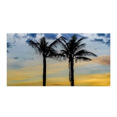 Palm Trees Against Sunset Sky Satin Wrap