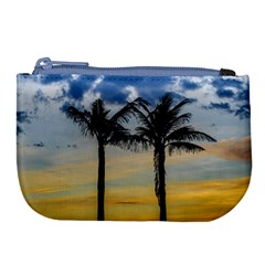 Palm Trees Against Sunset Sky Large Coin Purse