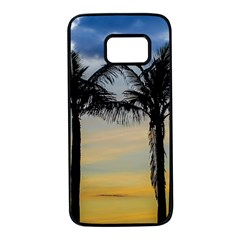 Palm Trees Against Sunset Sky Samsung Galaxy S7 Black Seamless Case