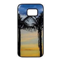 Palm Trees Against Sunset Sky Samsung Galaxy S7 edge Black Seamless Case