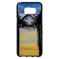 Palm Trees Against Sunset Sky Samsung Galaxy S8 Plus Black Seamless Case