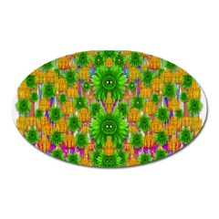 Jungle Love In Fantasy Landscape Of Freedom Peace Oval Magnet