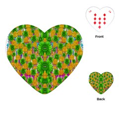 Jungle Love In Fantasy Landscape Of Freedom Peace Playing Cards (Heart)
