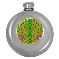Jungle Love In Fantasy Landscape Of Freedom Peace Round Hip Flask (5 oz)