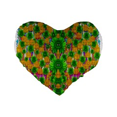 Jungle Love In Fantasy Landscape Of Freedom Peace Standard 16  Premium Flano Heart Shape Cushions