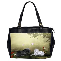 Wonderful Whte Unicorn With Black Horse Office Handbags (2 Sides)