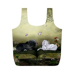 Wonderful Whte Unicorn With Black Horse Full Print Recycle Bags (M)