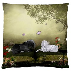 Wonderful Whte Unicorn With Black Horse Large Flano Cushion Case (One Side)