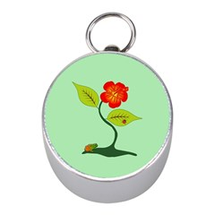 Plant And Flower Mini Silver Compasses