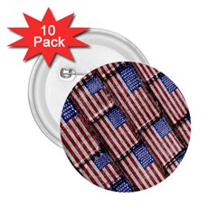 Usa Flag Grunge Pattern 2.25  Buttons (10 pack)