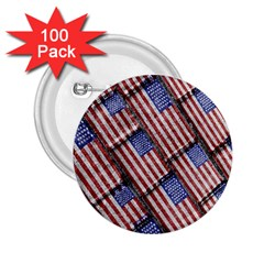 Usa Flag Grunge Pattern 2.25  Buttons (100 pack)