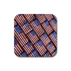 Usa Flag Grunge Pattern Rubber Square Coaster (4 pack)