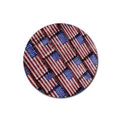 Usa Flag Grunge Pattern Rubber Round Coaster (4 pack)