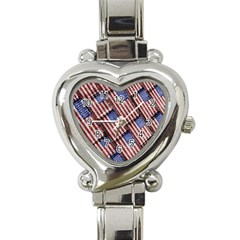 Usa Flag Grunge Pattern Heart Italian Charm Watch