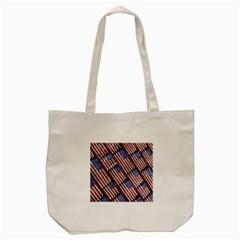 Usa Flag Grunge Pattern Tote Bag (Cream)