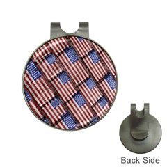Usa Flag Grunge Pattern Hat Clips with Golf Markers