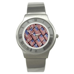 Usa Flag Grunge Pattern Stainless Steel Watch