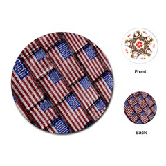 Usa Flag Grunge Pattern Playing Cards (Round)