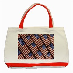 Usa Flag Grunge Pattern Classic Tote Bag (Red)